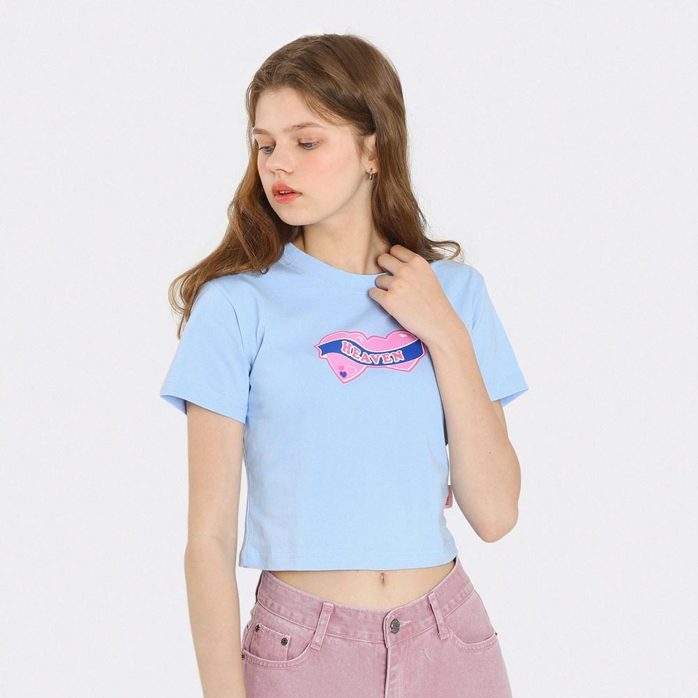 [단독한정]하트 헤븐 크롭 티셔츠-라이트블루