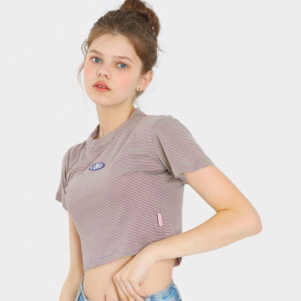미니 라운드 로고 스트라이프 크롭 티셔츠-퍼플