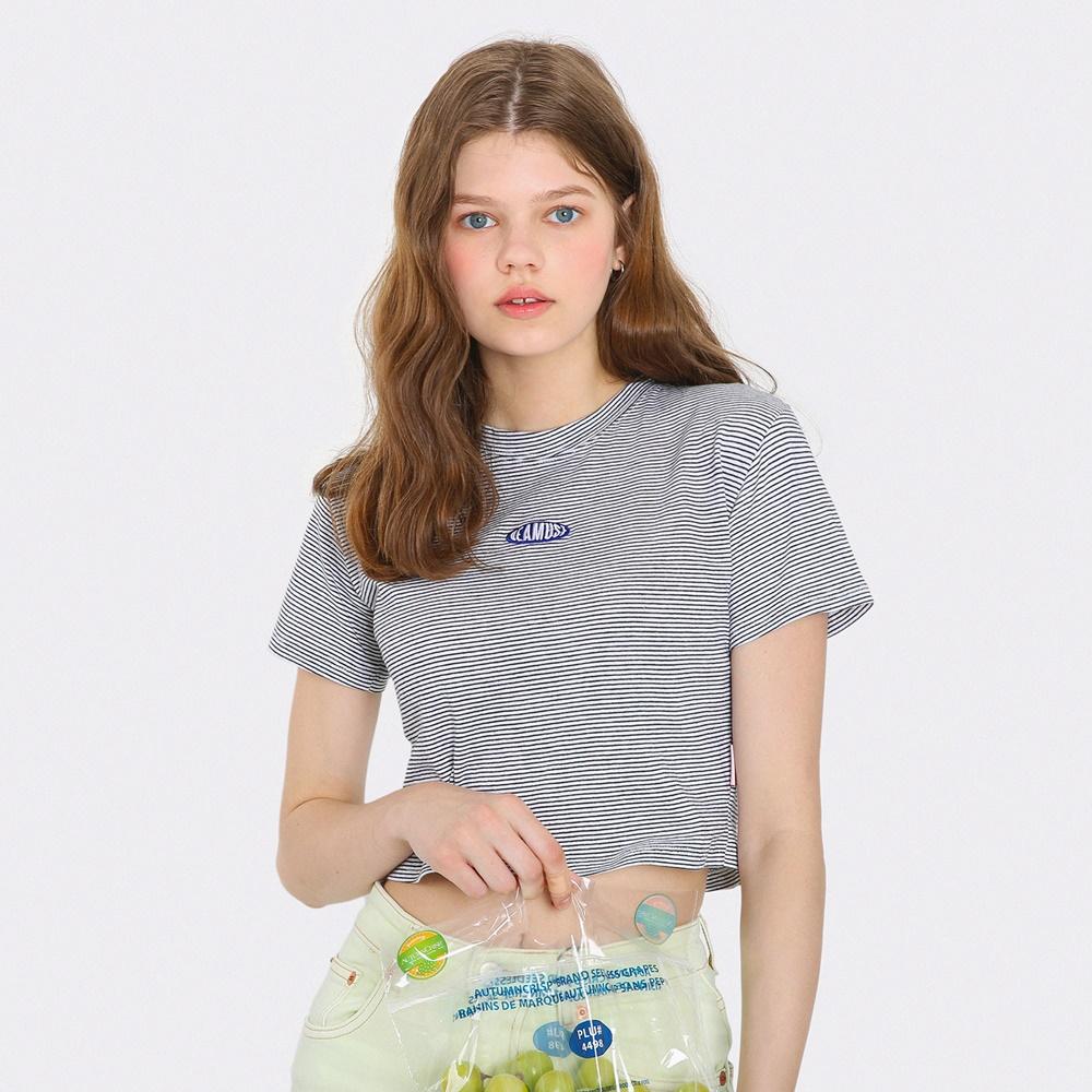 [단독한정]미니 라운드 로고 스트라이프 크롭 티셔츠-블랙