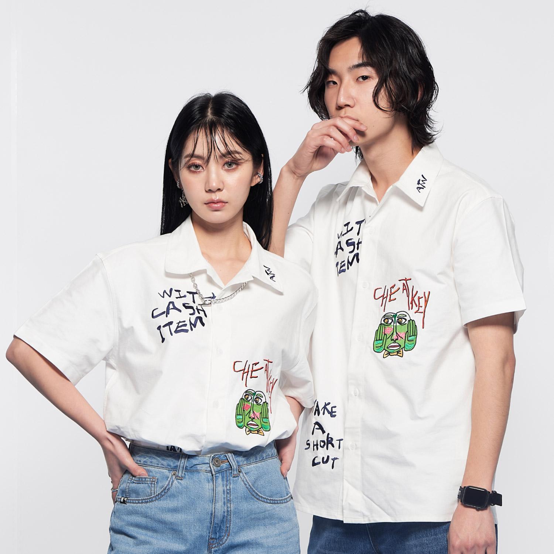 [단독할인][ATW X 2K찬] 치트키 자수 옥스포드 반팔 셔츠