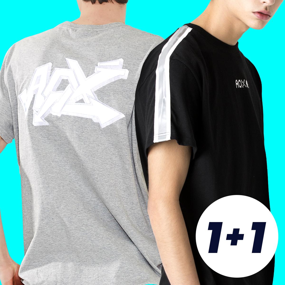 [단독구성][1+1]AOX GRAFITI TYPO / LINE REFLECTIVE T-shirts