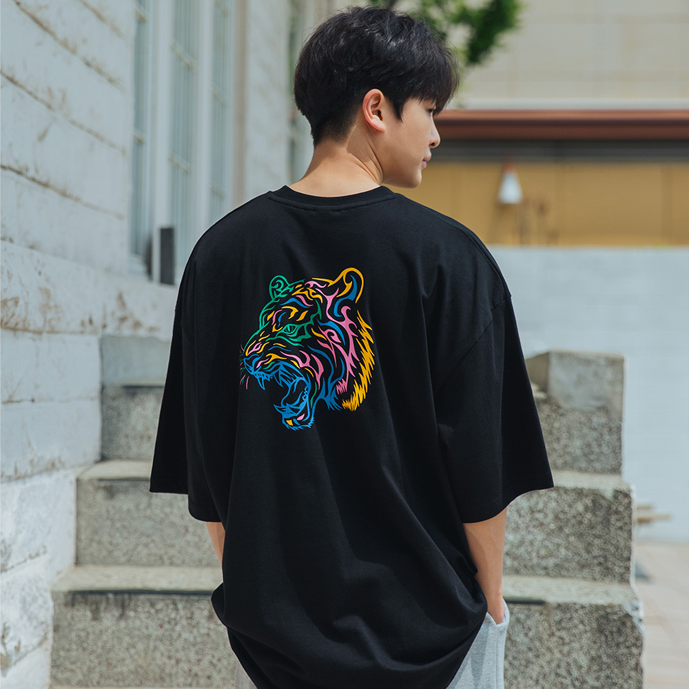 [alvinclo_enormous] XL~4XL 빅사이즈 컬러풀 타이거 오버핏 반팔 티셔츠 BE53057
