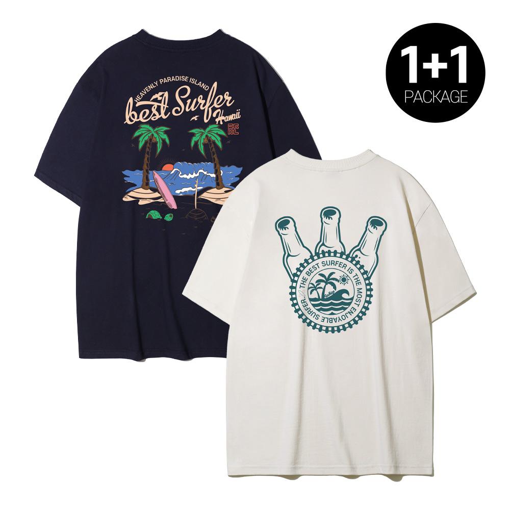 [1+1]크루클린 보틀 캡 야자수 반팔 베스트 서핑 하와이 오버핏 반팔 2종 패키지