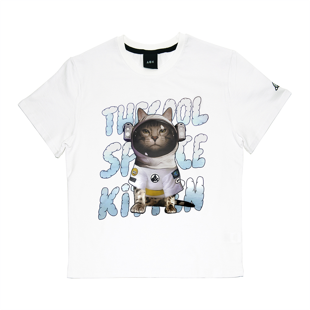 Space kitten short sleeve T-shirts(Standard fit) White