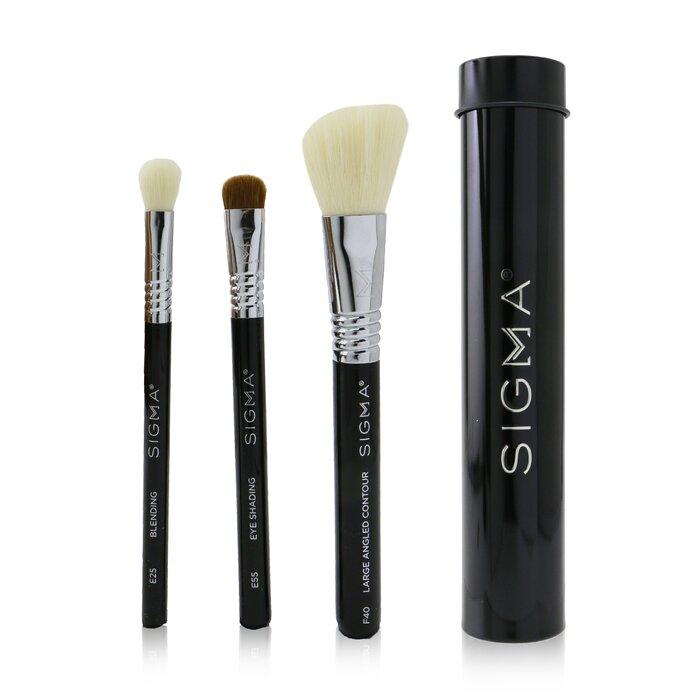 [시그마뷰티] Essential Trio Brush Set - # Black